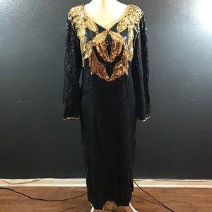 Vintage 80s cocktail sequined dress silk black
